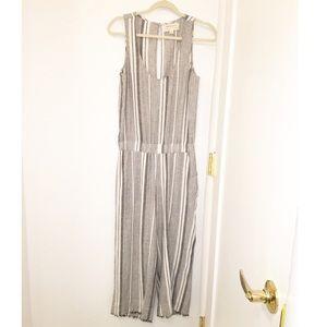 Cloth & Stone Striped Linen Jumpsuit Grey SZ:XS